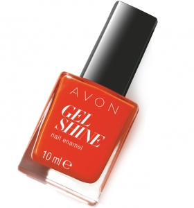"AVON COLOR - lakier do paznokci ""Żelowy manicure"" GEL SHINE z olejkami Omega =ORANGE YOU CRAZY="