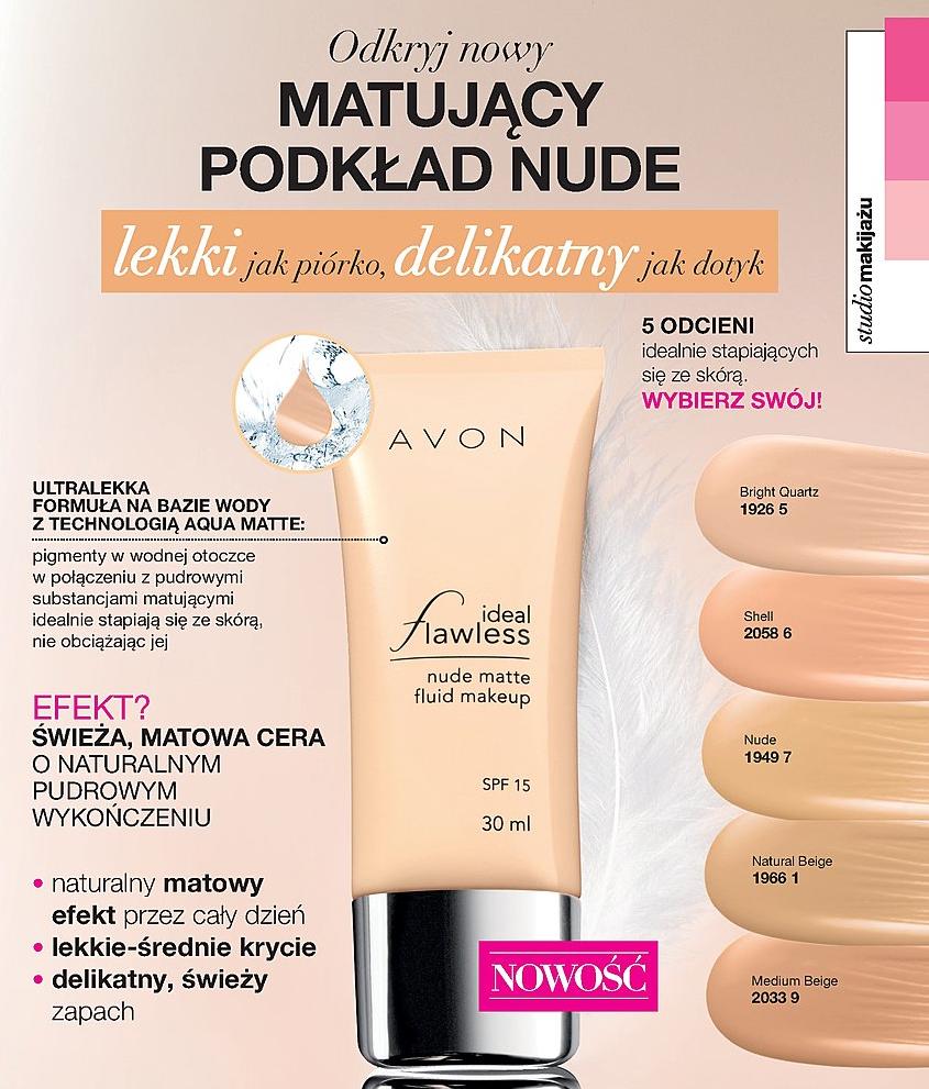 AVON COLOR - IDEAL FLAWLESS - matujący podkład Nude Matte